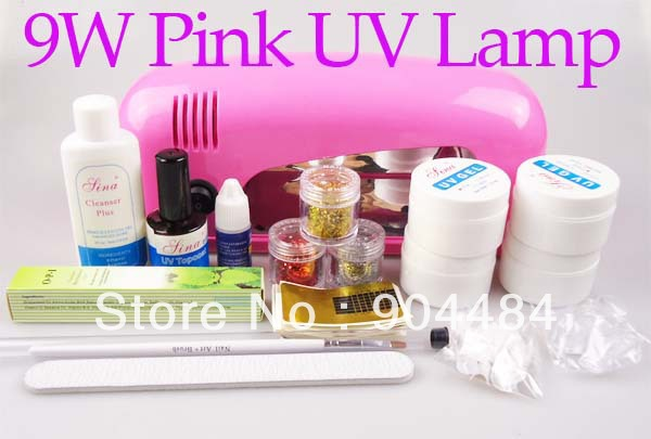Full set Top Coat Builder Gel 9W Pink Color UV Curing Lamp 12in1 DIY Beauty Nail Kit For UV Nail Desgin + Free Gift 426(China (Mainland))