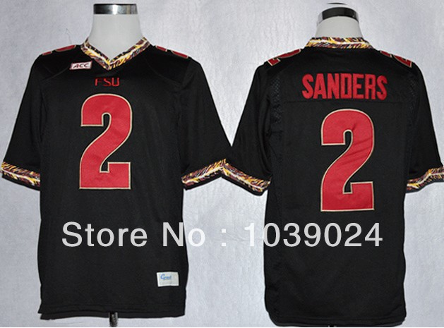 The Perfect-Fast Free Shipping NWT FSU Low Price#2 Deion Sanders Black Jersey Mens Garnet Stitched College Football Florida Stat(China (Mainland))