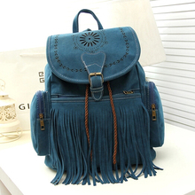 stacy bag new hot popular women suede backpack  black blue brown red lady female fashionable tassel bag girl casual travel bag(China (Mainland))