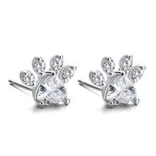 4 PCS חדש אופנה חתול דוב כלב Paw טבעת לנשים תכשיטי סטים לבן CZ אבן כסף זהב טבעות שרשרת צמיד עגיל סט(China)