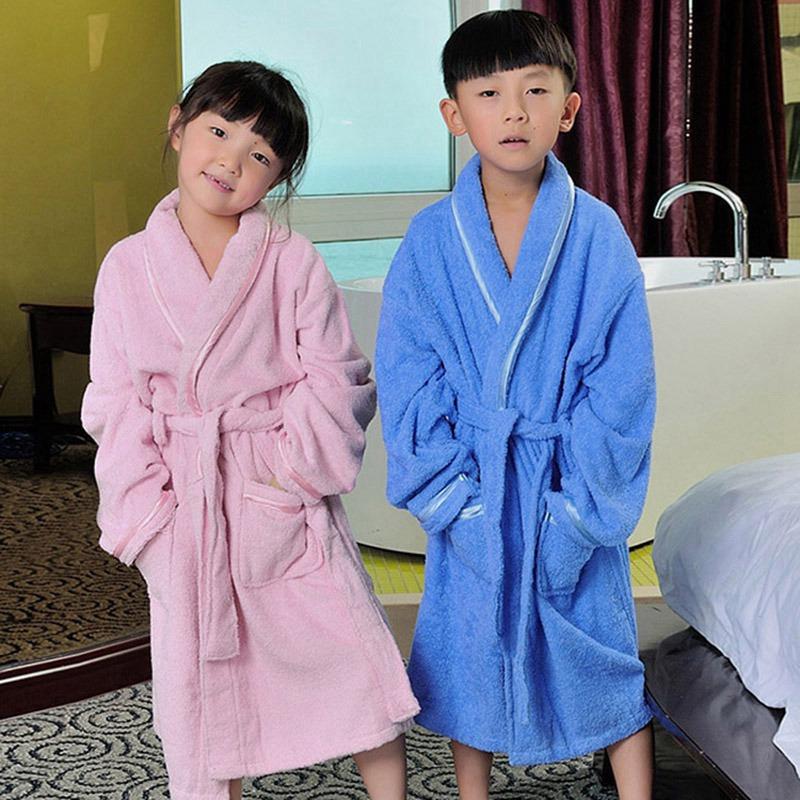 Newest Children Thicken Cotton Bathrobe Boys Girls Warmth Cotton Pajamas Kids Home Clothing Bath Robe Sleep Wear