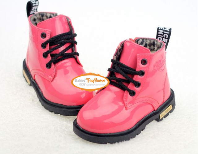 2012 children girls and boys shoes, patent leather short boots, kids Winter fur inside martin boots 26-30 free shipping