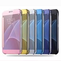 Luxury Clear View Mirror Back Cover Electroplate phone Cases For Samsung Galaxy S5 S6 S7 Edge