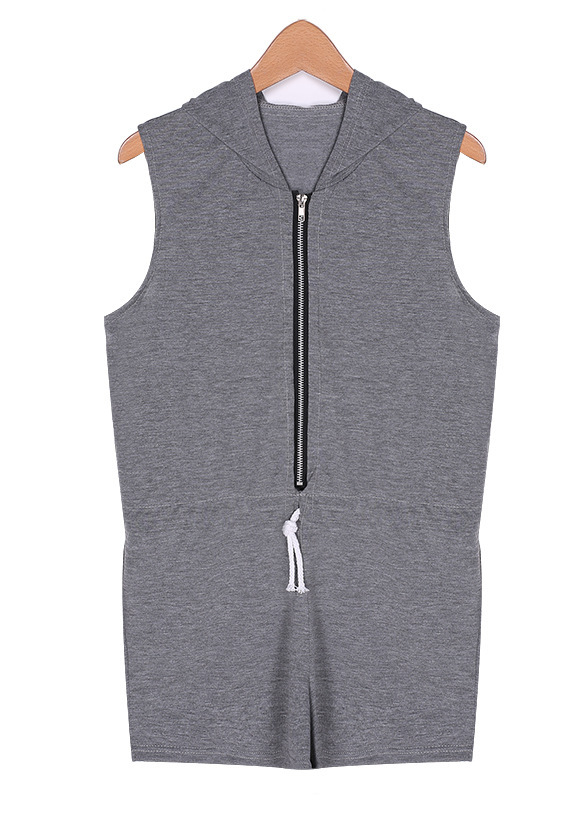 Hooded Jumpsuit Rompers Women 2015 New Fashion Summer Style Sleeveless Playsuit Shorts Pants sports suit Slim