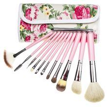 free shipping goat hair 12 Pcs Brush tools Makeup brush kits Cosmetic Facial Make Up Set