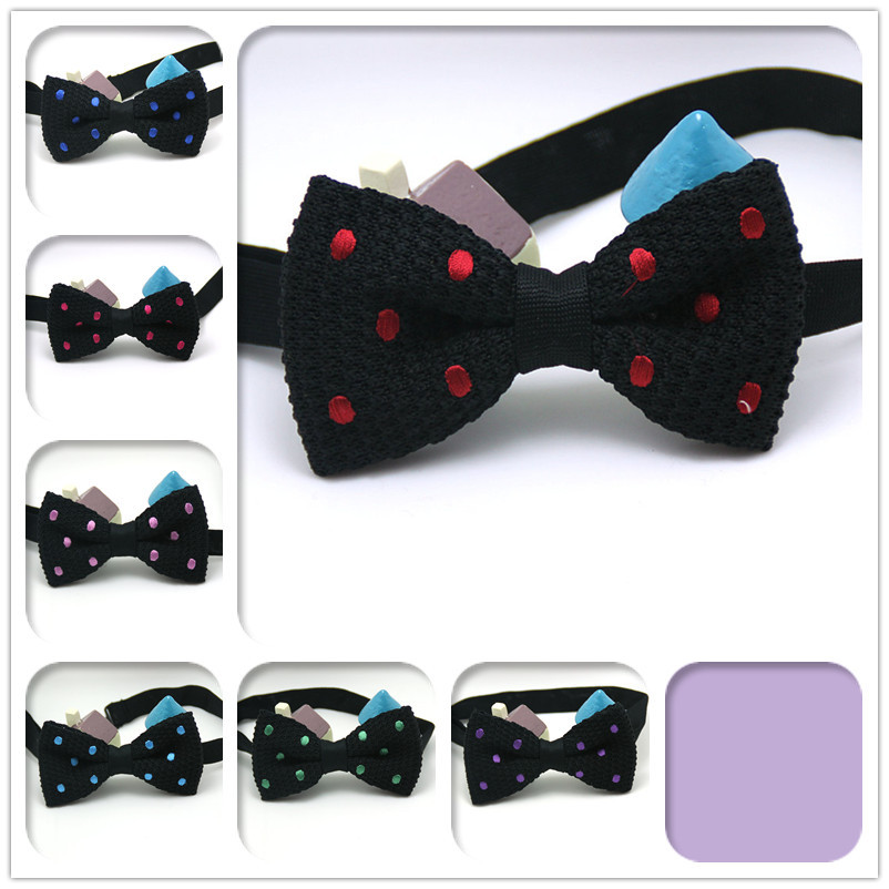 2015 brand new men pure color knitted bowtie tuxedo cashmere black Polka Dot tie nice quality 7 kinds styles