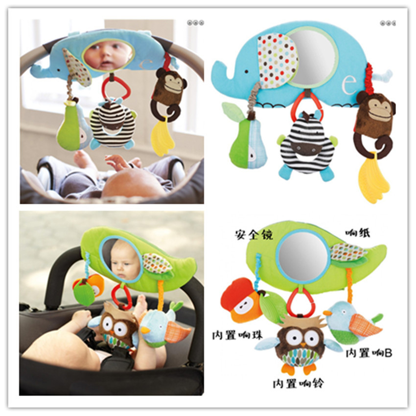 Free shipping 2pc owl animal baby distorting mirror soft cloth hanging bed car hung rattle bell ring newborn infant plush toy(China (Mainland))