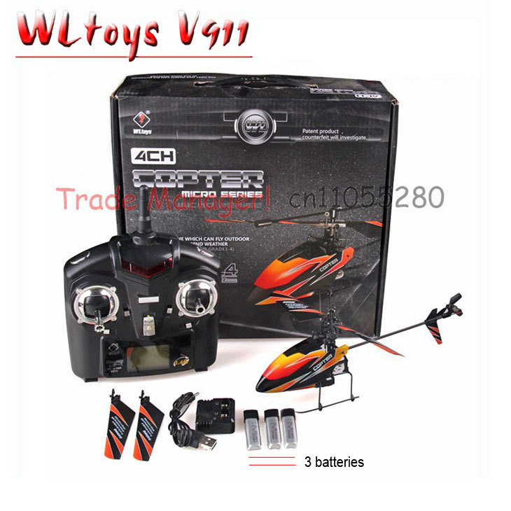 Free shipping WL rc helicopter V911 (red blue and orange) 2.4g 4ch outdoor rc toys Hot Air Model Toys Remotely piloted vehicles(China (Mainland))