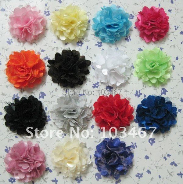 "60pcs/lot Wholesale 21 colors 2"" Mini Satin Mesh Flowers"