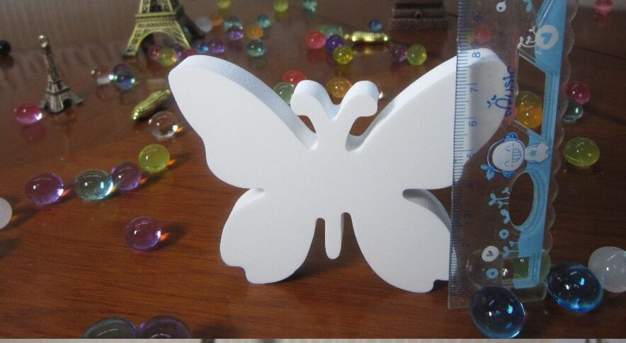 GUWX Home decoration  Imitation wood letters White butterfly crown diamond love heart and Imitation Wood Crafts