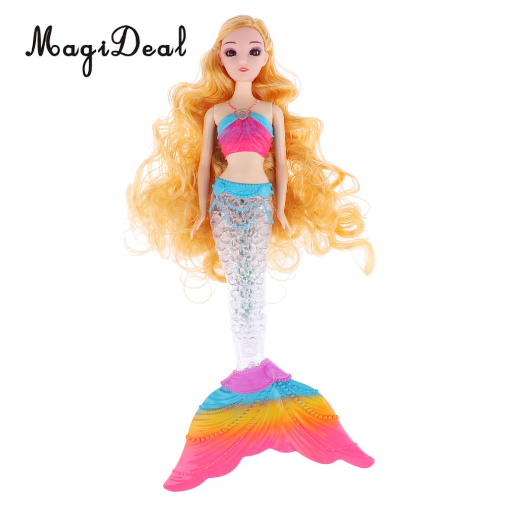 Fashion Princess Doll Long Curly Hair Mermaid Model With Rainbow LED Tail For   Children Birthday Gift