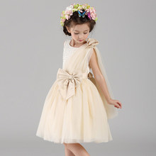 Kids Girls Dress For Party Birthday Wedding Princess Bow Champagne Color Ball Gown Toddler Infant Costume Bridesmaid Dresses