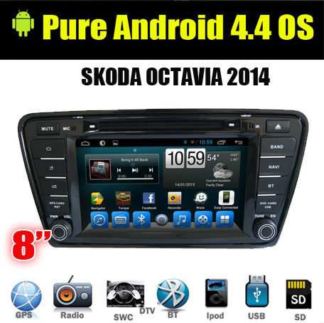 8inch In-dash Bluetooth GPS Navigation Car DVD CD MP3 player vw Skoda Octavia 2013/A7 2 din Car Stereo Radio SD Android4.4(China (Mainland))