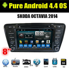 8″ Pure Android 4.4 Car DVD Multimedia Player 2 Din GPS Navigator Radio TV CANBUS BT For VW Skoda Octavia 2013 A7