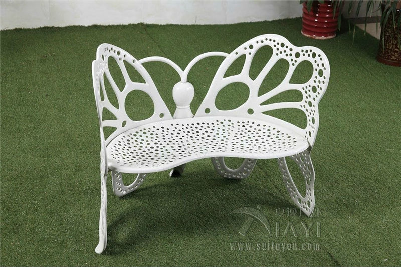 Double seater antique cast aluminum durable high quality butterfly garden bench ,park chair,leisure outdoor benches white(China (Mainland))