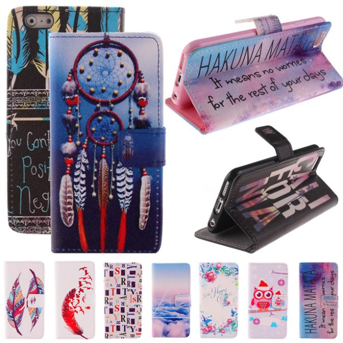 Iphone 6 6s 4.7 inch Wallet Artificial Leather Cover Silicon Plastic Holder Drawing Printing Flip Phone Cases - OHMG store