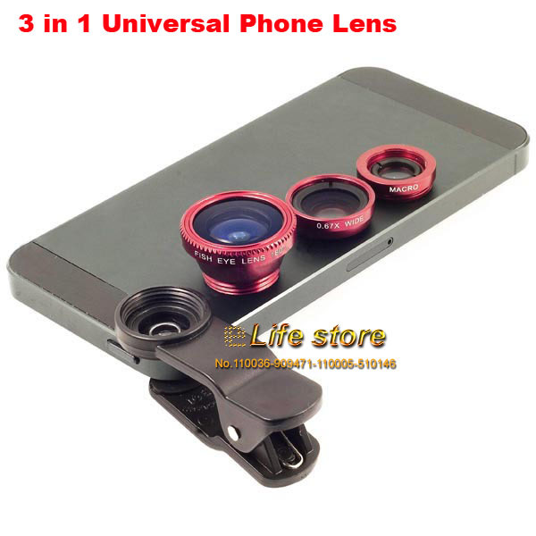 Universal 3 in 1 Phone Clip Len Wide Angle Fish Eye Micro Lens Mobile Phone Len For Blackberry Leap,Huawei Honor 7, Oneplus two(China (Mainland))