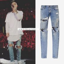 Mens Jumpsuit Designer RedLine Rock Star Justin Bieber Kanye West Skinny Ripped Denim Designer Jeans High Quality Fear Of God