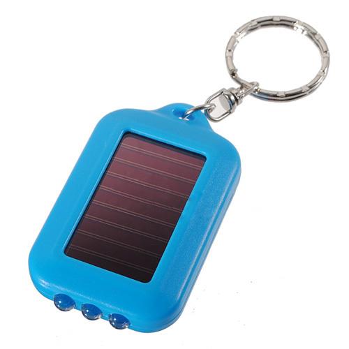 10X Mini Solar Power Rechargeable 3LED Flashlight Keychain Light Torch Ring(China (Mainland))