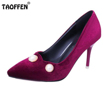 Buy Women High Heel Shoes Pointed Toe Classics Pumps Beading Thin Heels Shoes Women Pure Color Sexy Daily Lady Footwear Size 34-39 for $18.98 in AliExpress store