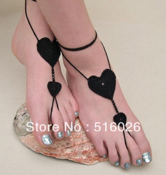 Barefoot sandals,black heart crochet nude shoes, foot jewelry, victorian lace, sexy, lolita, yoga, anklet , bellydance