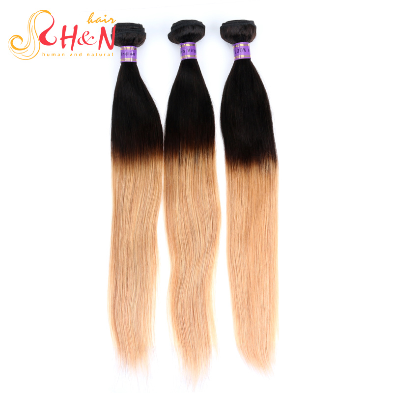 1B 27 H&N Ombre Indian Virgin Hair Extensions 7A Indian Straight Hair Weave Bundles Cheap Ombre Indian Remy Hair Fast Shipping