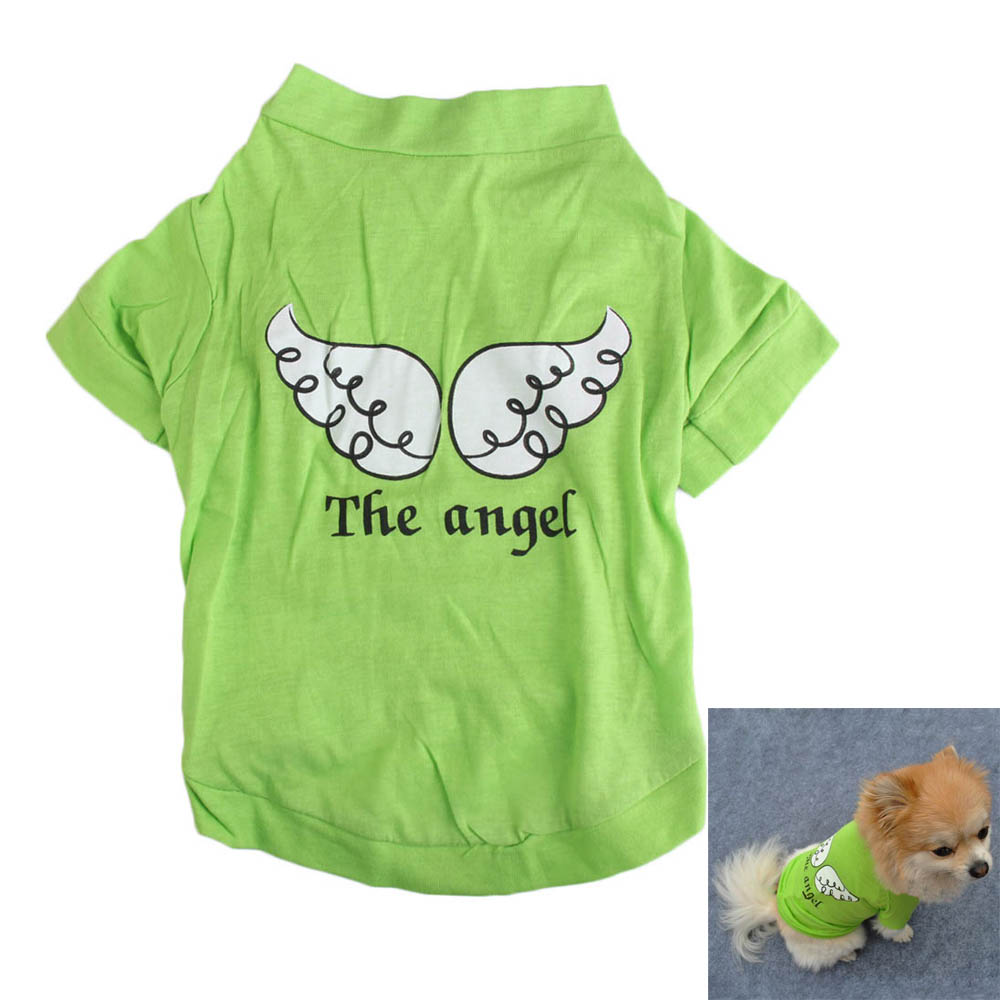 2016 Cotton pet dog clothes cheap Summer Cute small cat clothes chihuahua clothing T shirt Pet Vest Puppy Printed Angel(China (Mainland))