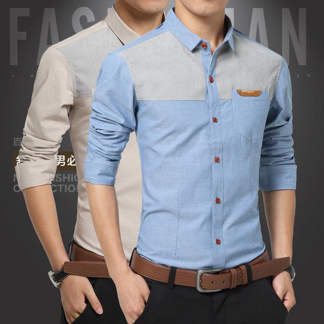 Мужская новая весна рубашки мужские с длинными рукавами смешанные цвета хлопок блузка ...