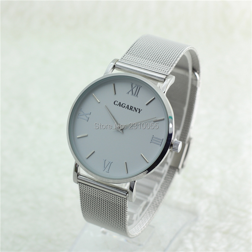 Famous Brand Silver Casual CAGARNY Quartz Watch Women men Metal Mesh Stainless Steel Dress Watches Relogio male Feminino Clock