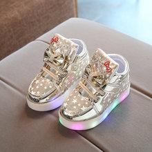 MHYONS 2018 ילדים מגפי עור מפוצל מגפי LED להאיר אופנה בנות סניקרס חמוד ילד חם תינוק נעליים יומיומיות יפה רך נעליים(China)
