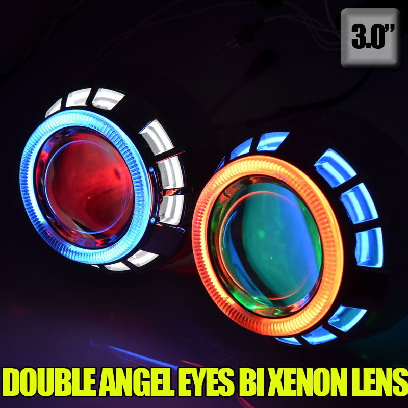 3.0 inch 35W hid bi xenon projector lens kit with double CCFL angel eyes+Devil eyes for h1 h7 h4 h11 9005 HB4(China (Mainland))