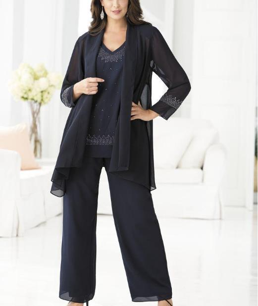 2016 ming blue mother of the bride pants suits for for Dress pant suits for weddings plus size