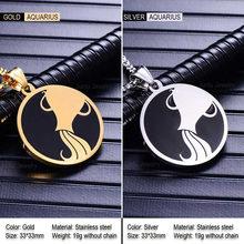 Moda 12 constellation pingente colar para homens estilo feminino aço inoxidável quadrado redondo pipoca corrente colar zodíaco jóias(China)