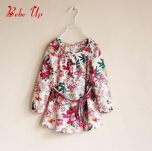 Girls Dress Brand print floral long sleeve Spring Autumn 2016 Children clothing Baby & Kids Princess Flower pink dress 2-10 - Hangzhou Taijia Clothing Co.,Ltd store