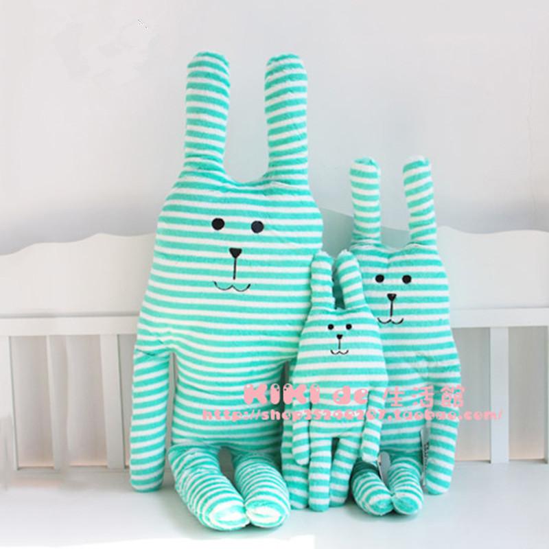 Hot selling CRAFTHOLIC striped rabbit plush doll super cute long ear stuffed plush bunny pillow cushion drop bulk(China (Mainland))