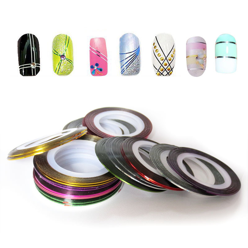 1Set/10pcs Stickers Manicure DIY Multi-colors Rolls Striping Line Tape Nail Art DIY Decorations for Nails Sticker Art(China (Mainland))