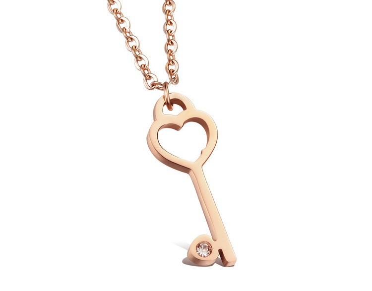 Fashion Women Jewelry Heart Key Woman Pendant Necklaces Romantic Rose Gold Plated Stainless Steel Link Chain(China (Mainland))