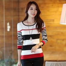 New 2016 Spring Autumn women sweater casual Slim Red Black Stripes Blue Black Stripes S M L XL bottoming pullover(China (Mainland))