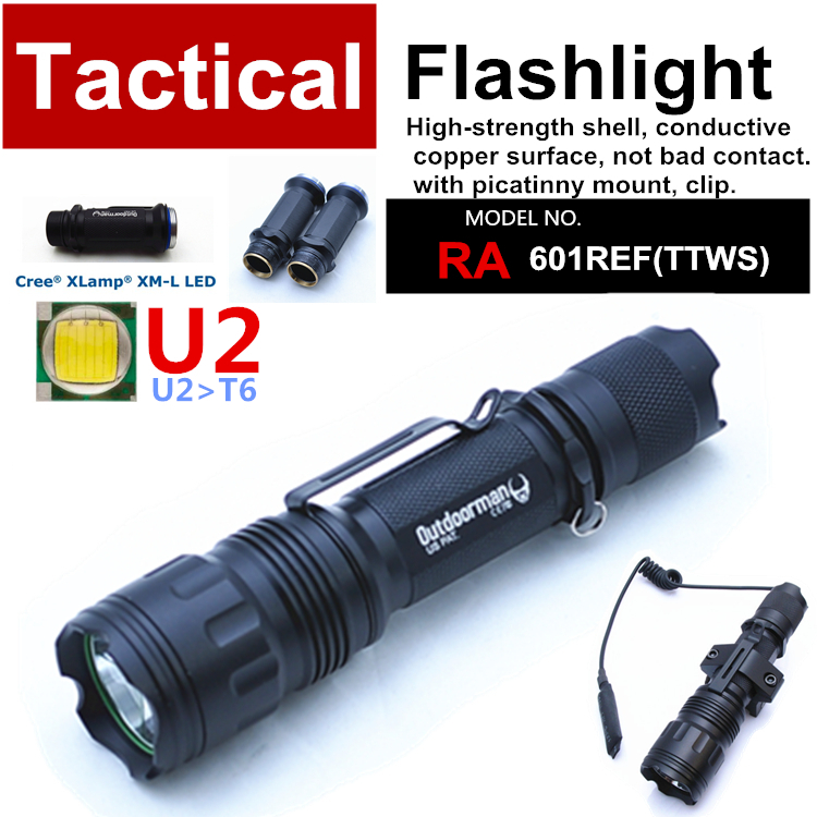 RA-601REF[TTWS] CREE XM-L U2 custom mode torch Tactical Flashlight power 18650,with Rail Mount,Tail-wire Pressure Switch - QIHANG fashion shop store