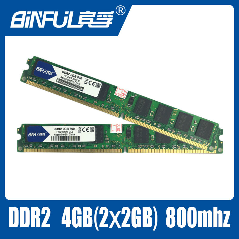 Binful Original Brand New DDR2 800mhz 4GB(Kit of 2,2X 2GB for Dual Channel) PC2-6400 Memory ram memoria for laptop computer(China (Mainland))