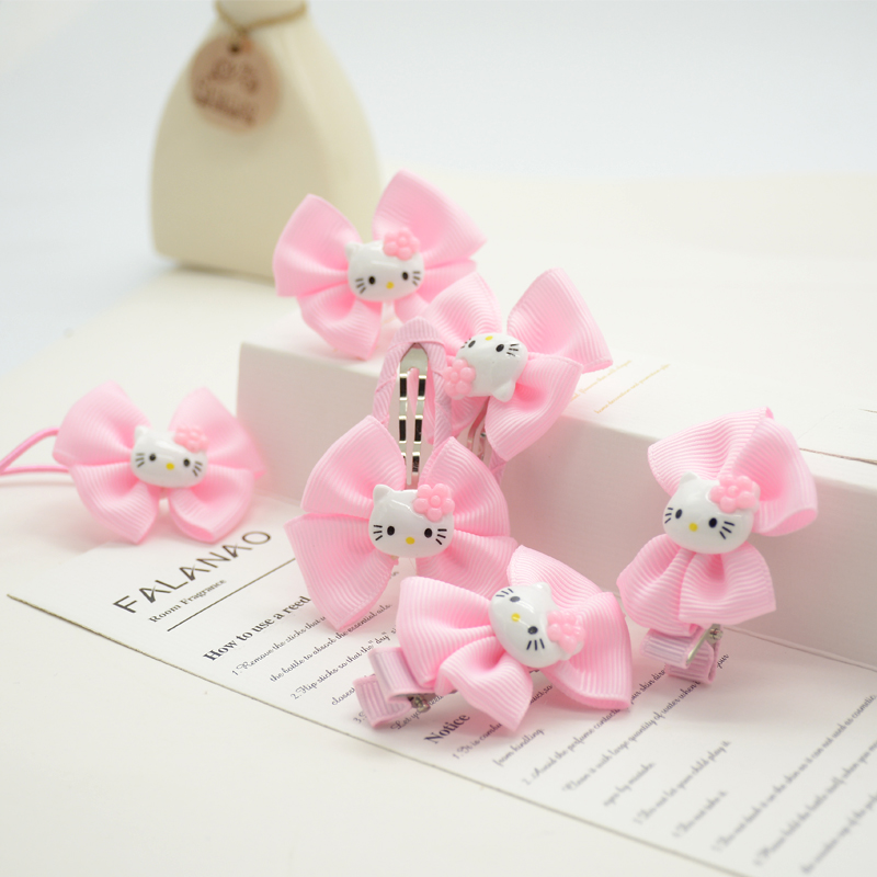 6piece/lot 2016 Hello Kitty By Pairs Dot Bow Cute Girls Hair Accessories Bowknot Hair Clip(China (Mainland))