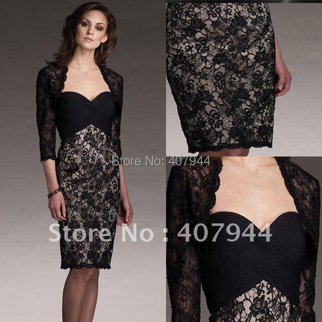 Designer knee length black lace mother of the bride for Black lace jacket for wedding dress