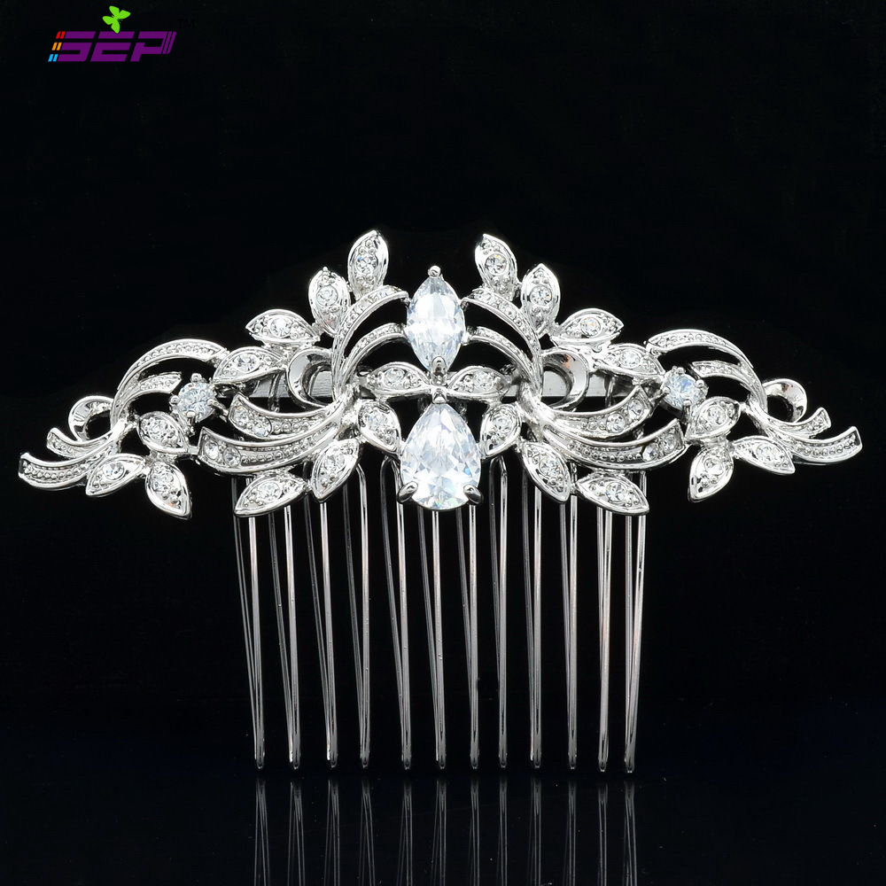 Vintage Silver Plated Women Hairpins Rhinestone Crystals Hair Combs Bridal Wedding Jewelry Accessories 4012r - SEP store