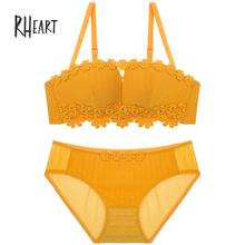 3329b762d3 Roseheart Women Fashion Yellow Blue Underwire Padded Half Cup Bra Cotton Panties  Push Up Bra Set