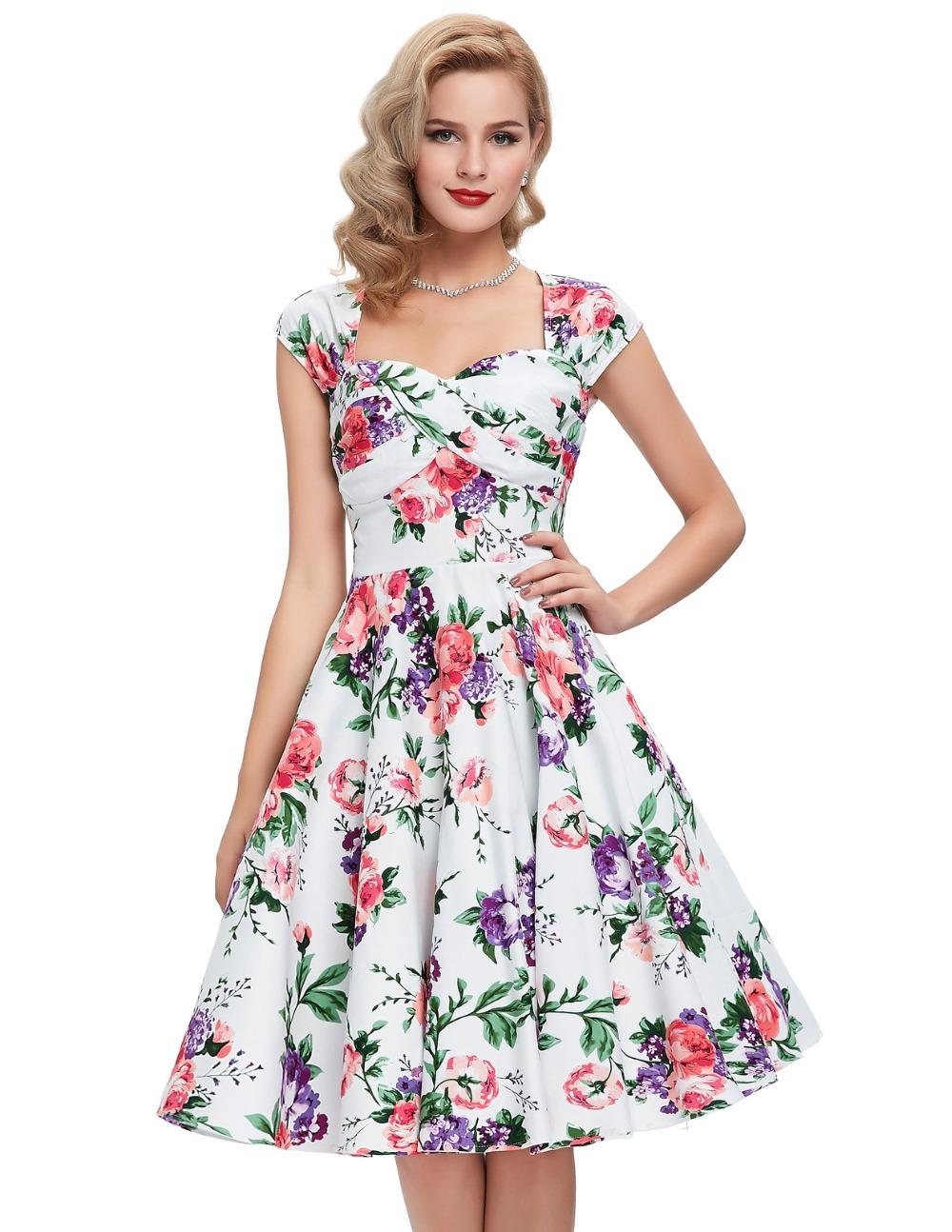 Rockabilly Dress Cotton 1950s Vintage Vestido Casual ...