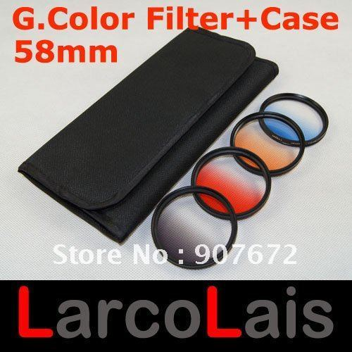 58 mm Gradual Color Lens Filter 58mm Graduated Blue Red Orange Gray With 4 Pocket Case for Camera