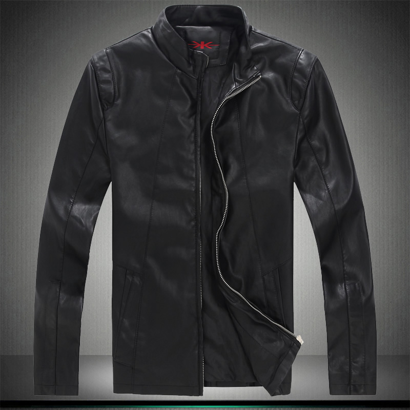 New 2015 stand collar casual leather jacket men slim fit jaqueta de couro masculina plus size 5xl men's leather clothing /PY8(China (Mainland))