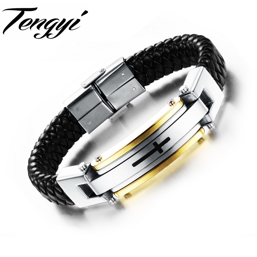 2015 man leather bracelet Cross Black Punk PU Leather Bracelets Bangles European Cowhide Punk Bracelet 916(China (Mainland))