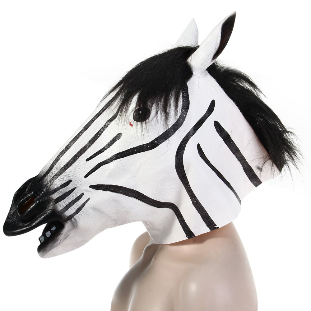Fun Halloween Mask Realistic Latex Horse Head /Interesting Funny Party Masquerade Masks Silicone Face Zebra Mask 1492794(China (Mainland))