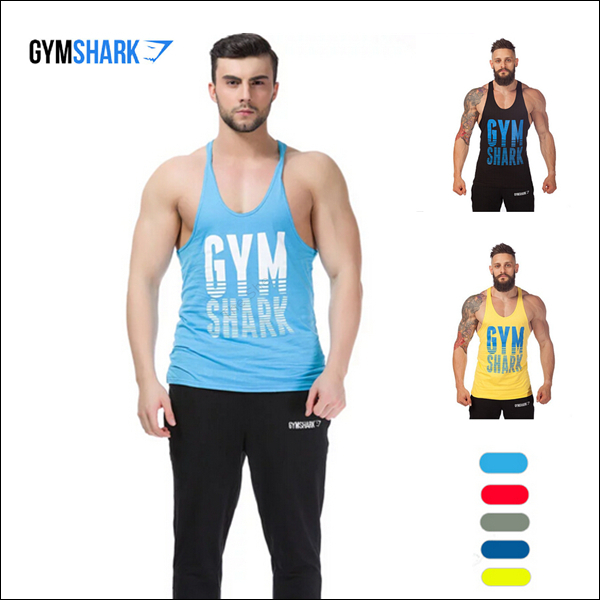 Hot Brand GymShark Tank Tops Bodybuilding Weight Lifting Fintness Men Clothes Sports Undershirt Gym shark Stringer Vest Mens - SUMTOP TECHNOLOGY CO.,LTD. store